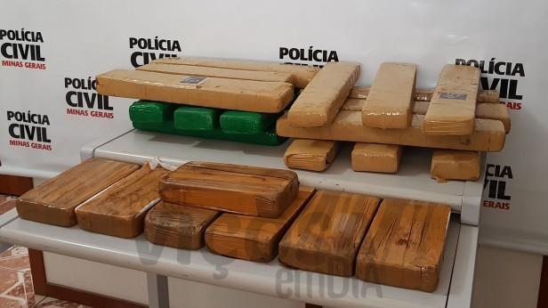 Droga apreendida em Viçosa nesta quarta-feira (27). Foto: Portal Viçosa em Dia
