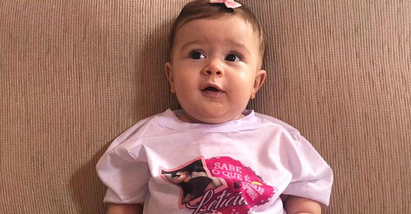 Letícia, de 8 meses, diagnosticada com AME. Foto: Acervo Pessoal